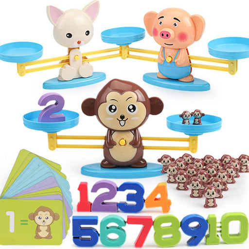 Monkey Cat Balancing Scale Number Toy - BrightBailey