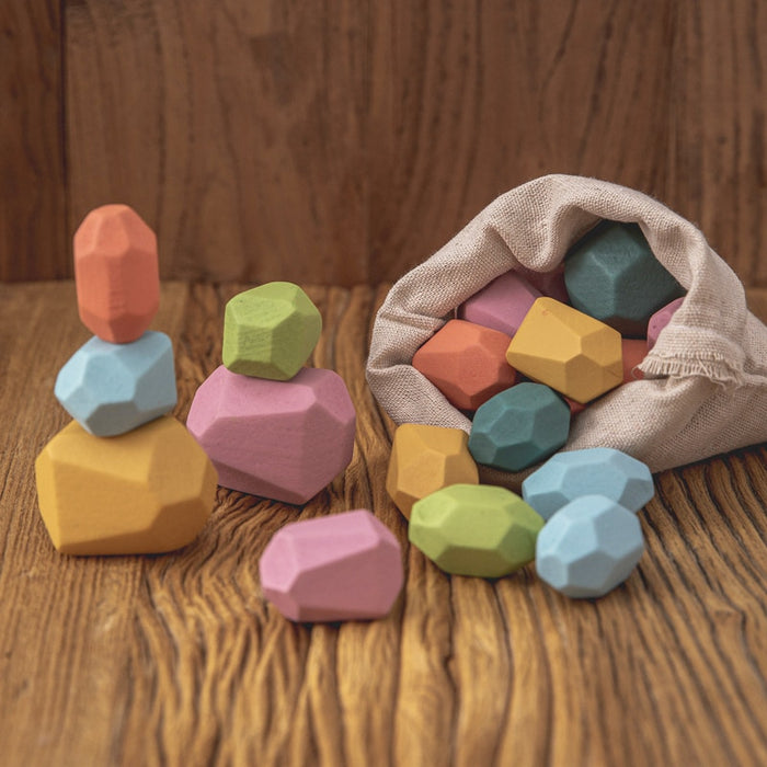 Wooden Building Block Stone Toys - BrightBailey