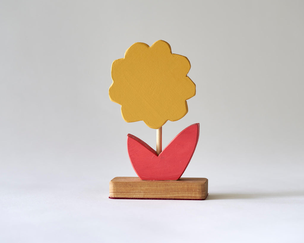 Painted Wooden Flower -Small Yellow and Red