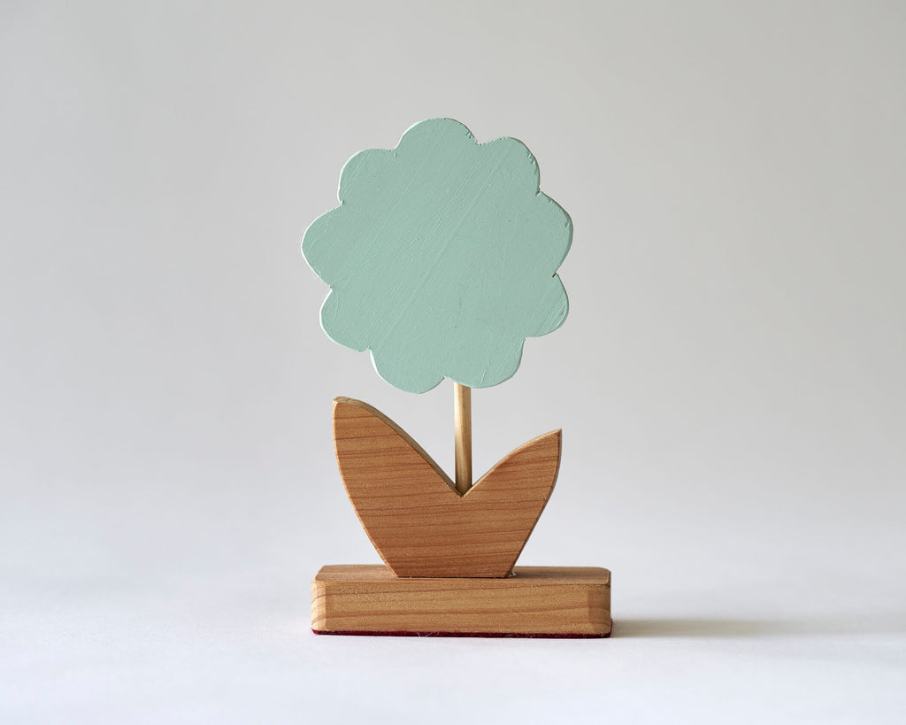 Painted Wooden Flower -Small Green