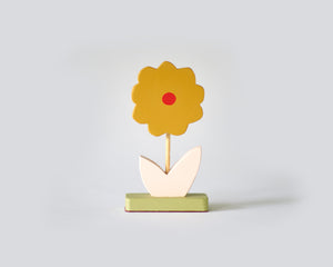 Painted Wooden Flower -Small Mustard petals with Red dot