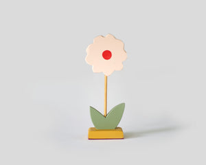 Painted Wooden Flower - Tall Red dot Green leaf