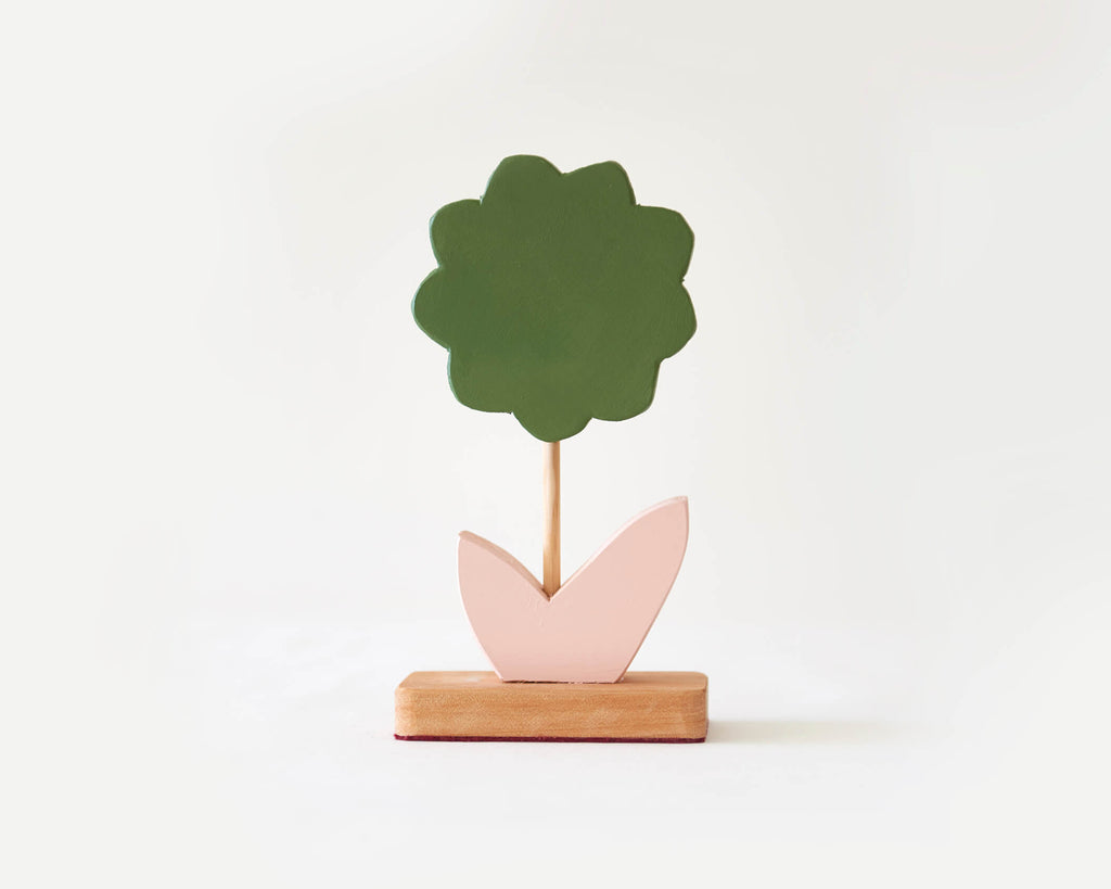 Painted Wooden Flower -Small Green with Pink Leaf