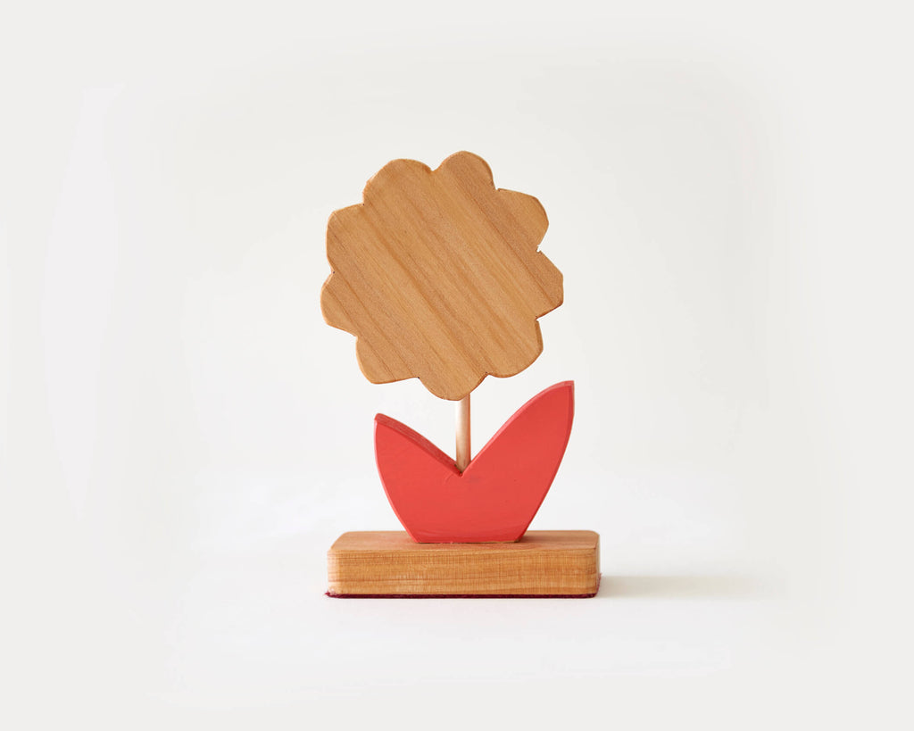 Painted Wooden Flower -Small Red Leaf