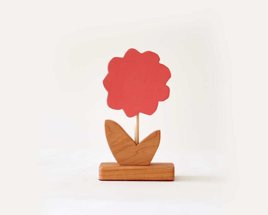 Painted Wooden Flower -Small Red