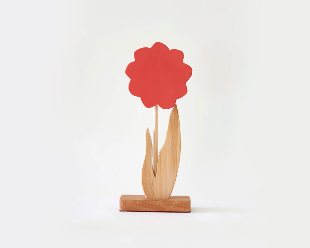 Painted Wooden Flower -Tall Red