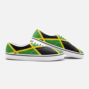 Jamaica Flag Dark Canvas Shoes Low Cut Loafers