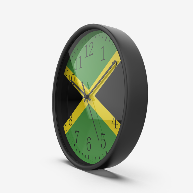 Jamaican Flag Wall Clock Silent Non Ticking Quality Quartz