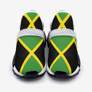 Jamaica Flag Dark Unisex Lightweight Sneaker White Lace
