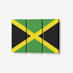"3 Piece Canvas Jamaican Flag - Framed Ready to Hang 3x8""x18"""