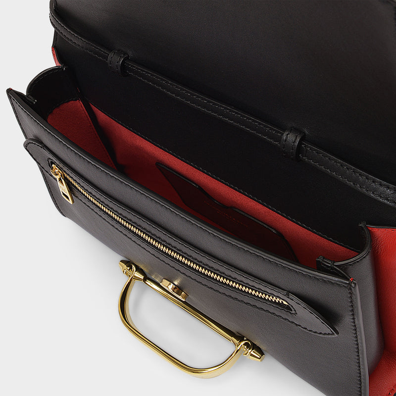 The Small Story Crossbody in Black and Red Leather