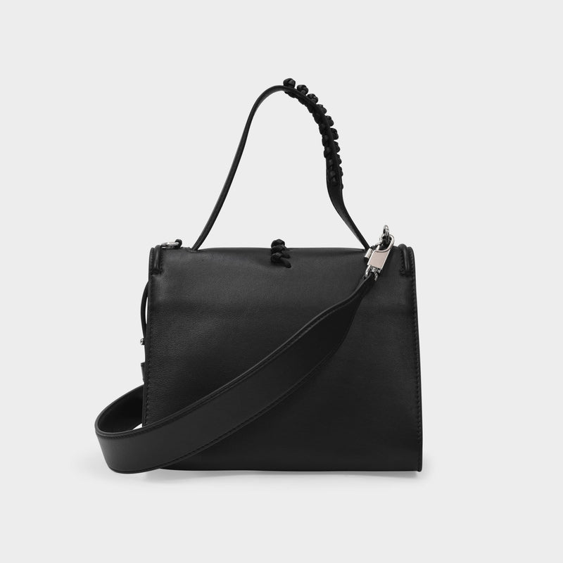 Story Handbag in Black Smooth Leather