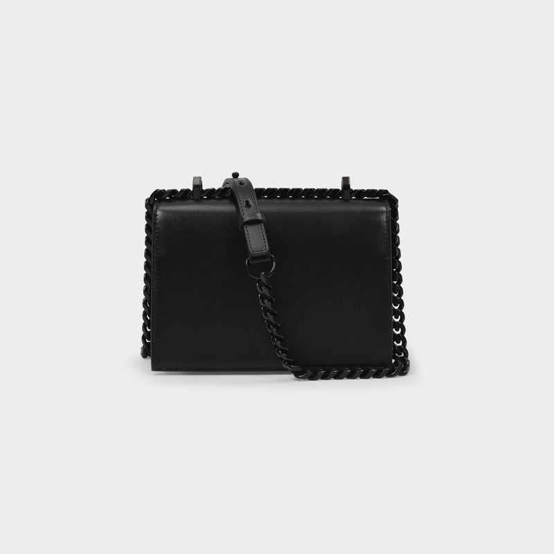 Small Jewelled Satchel Bag in Black Smooth Leather