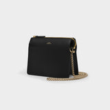Ella mini chaine Bag in Black Smooth Leather