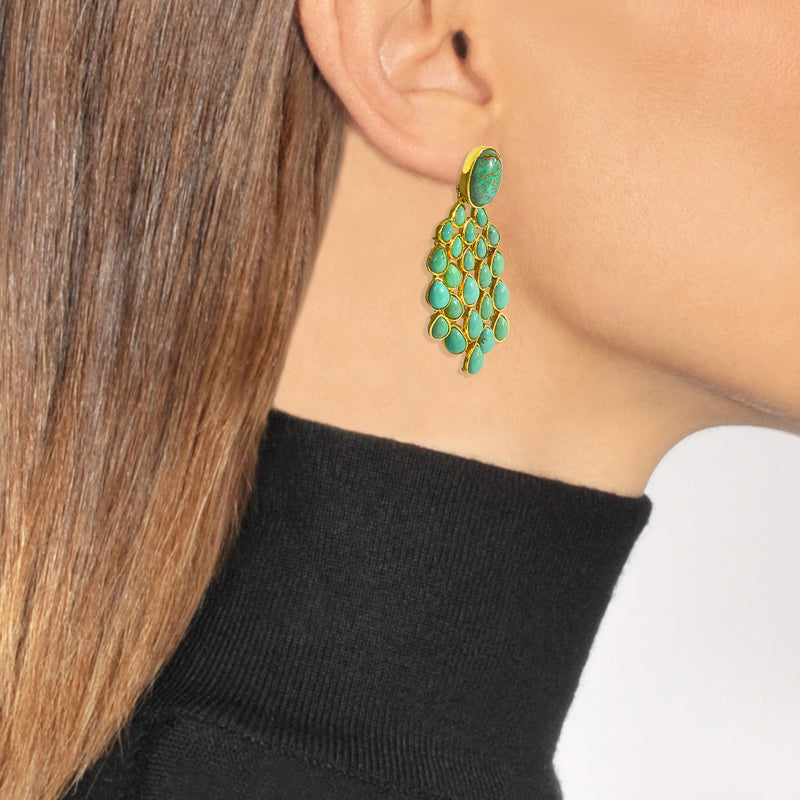 Cherokee Turquoise Earrings in 18K Gold-Plated Brass