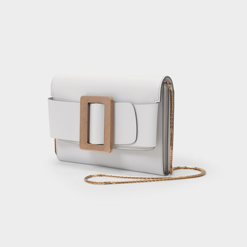 Buckle Travel Case Bag in Beige Leather