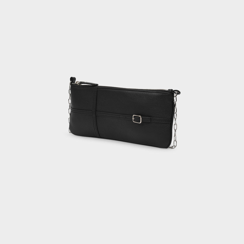 Belt Baguette Bag in Black Leather