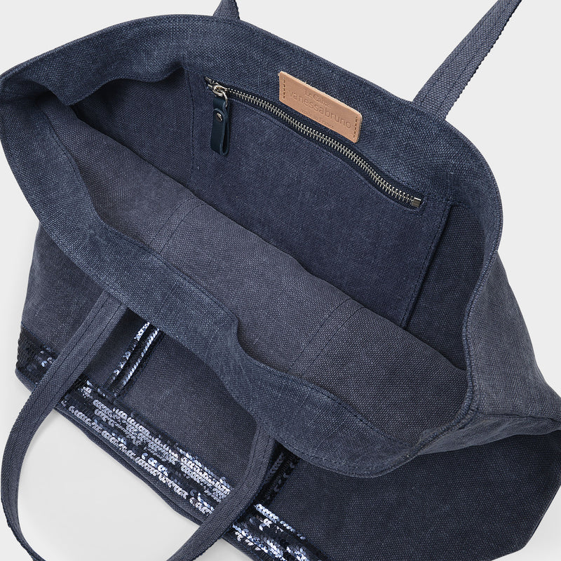 Medium ++ Tote Bag in Denim Blue Linen