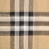 Giant Check Gauze Scarf in Archive Beige Wool and Silk