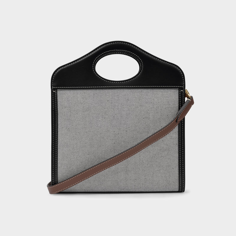 Mini Pocket Bag in Black and Tan Cotton