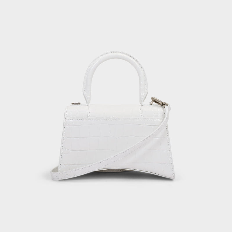 Hour Top Handle Xs Bag in White Shiny Embossed Croc Calfskin