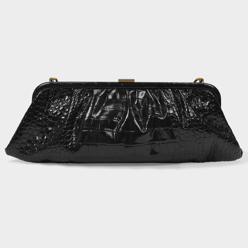 XL Cloud Clutch in Black Croc Embossed Leather