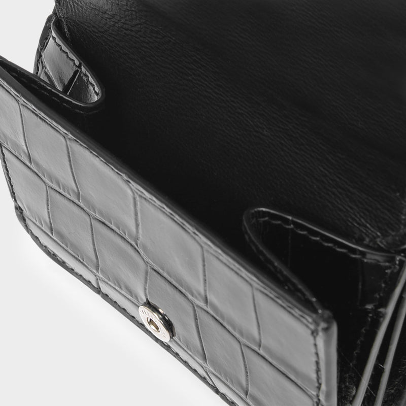 Cash Mini Wallet on Chain in Black Shiny Embossed Croc Calfskin