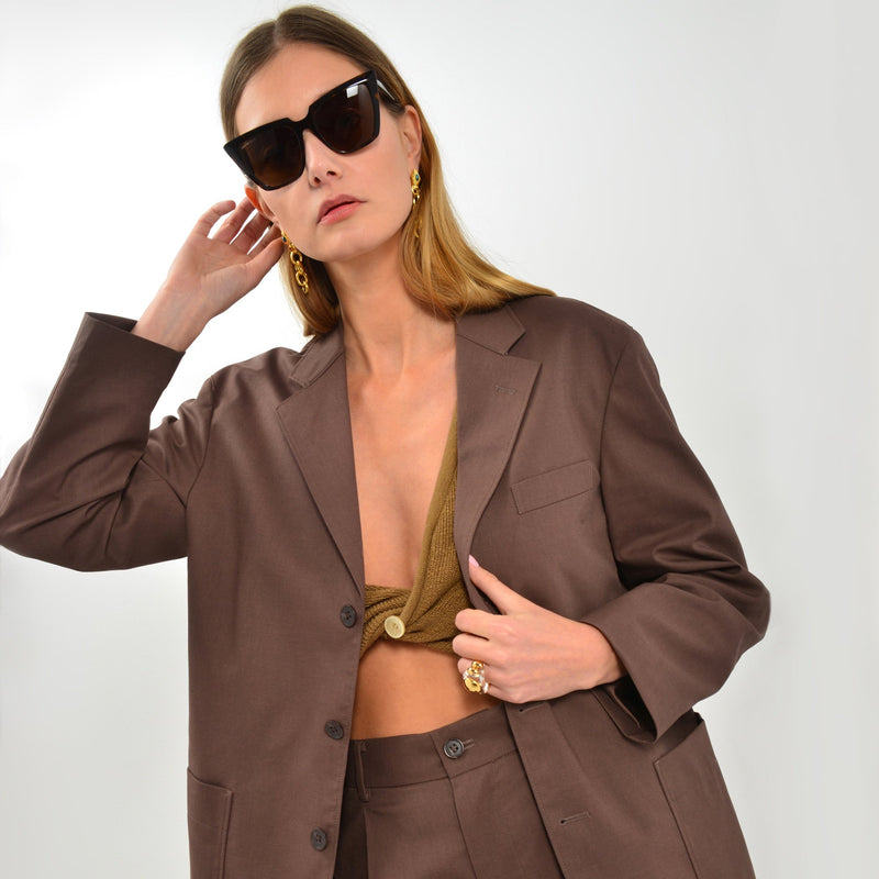 Round Shaped Sunglasses in Havana Brown