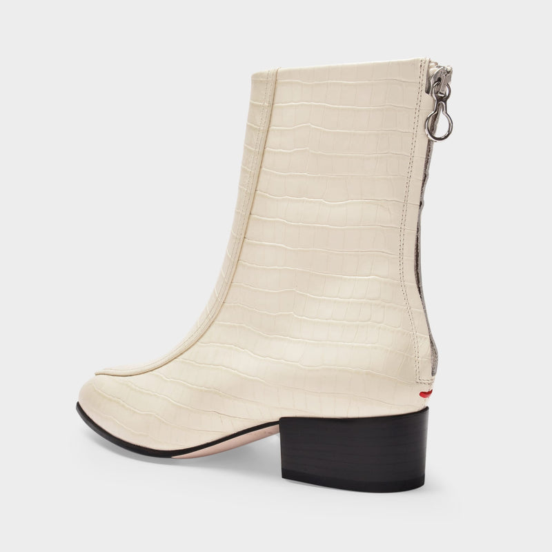 Ankle Boots Amelia in Creamy Croc Embossed and Smooth Leather