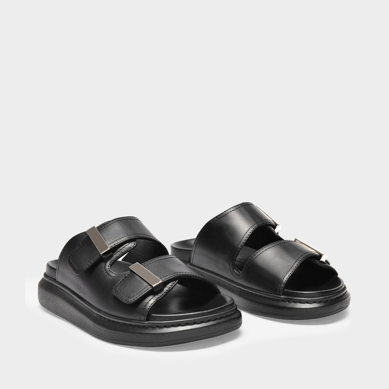 Hybrid Slides in Black and Silver Leather