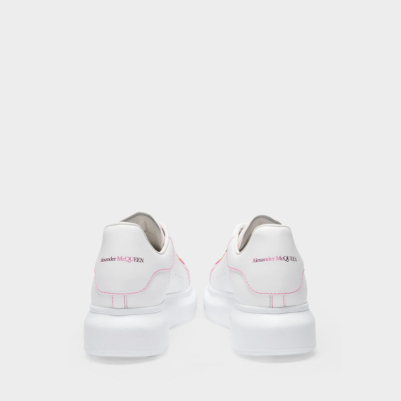 Oversize Sneakers in White Leather with Rainbow Detail and Pink Rubber Sole