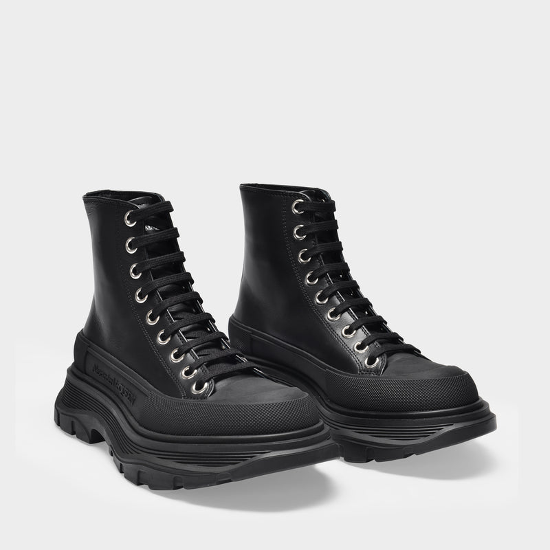 Tread Slick Sneakers in Black Canvas and Sliver Rubber Sole