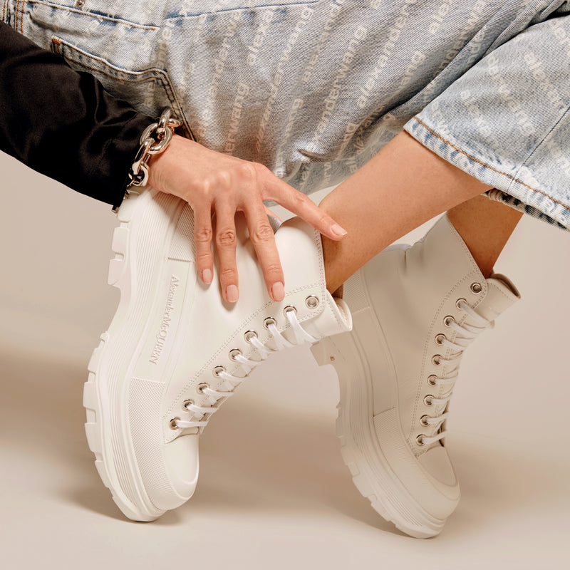 Tread Slick Sneakers in White Canvas and Sliver Rubber Sole