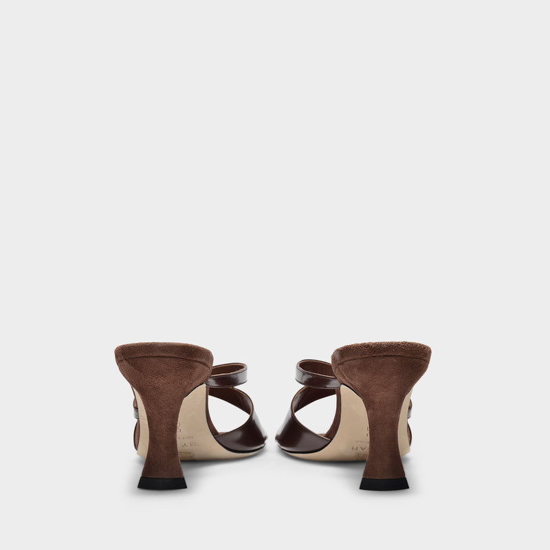 Kitty Mules in Brown Semi Patent Leather