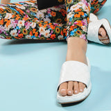 Lilo Sandals in White Creased Leather