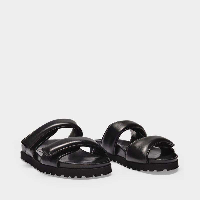 Platform Sandals in Black Leather