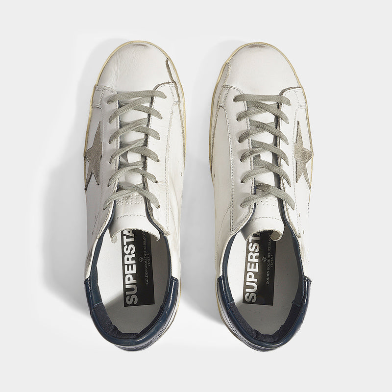 Superstar Sneakers in White and Blue Leather with Cream Star