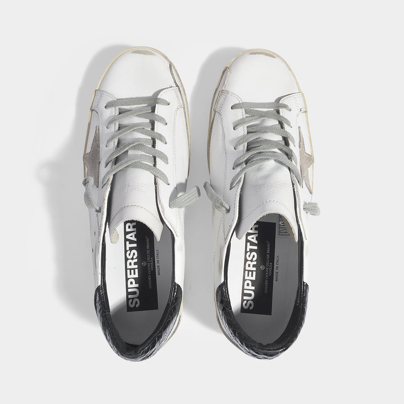 Superstar Sneakers in White and Black Leather with Cream Sole