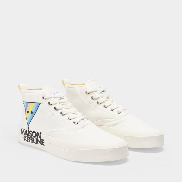 High Top Sneakers in White Canvas with Triangle Patch