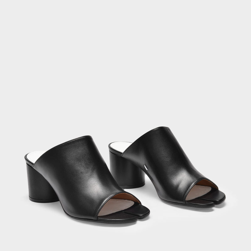 Open Sandals in Black Leather