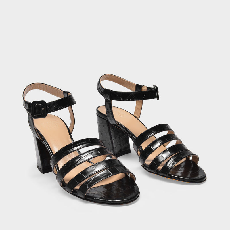 Palma High Sandal Sandals in Black Croc-Embossed Leather