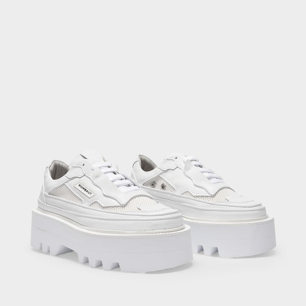 Project Elevator Sneakers in White Vegan Leather