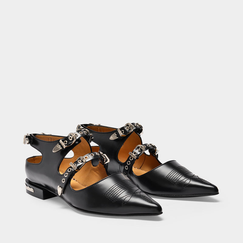 Flat Shoes with Buckles in Black Leather