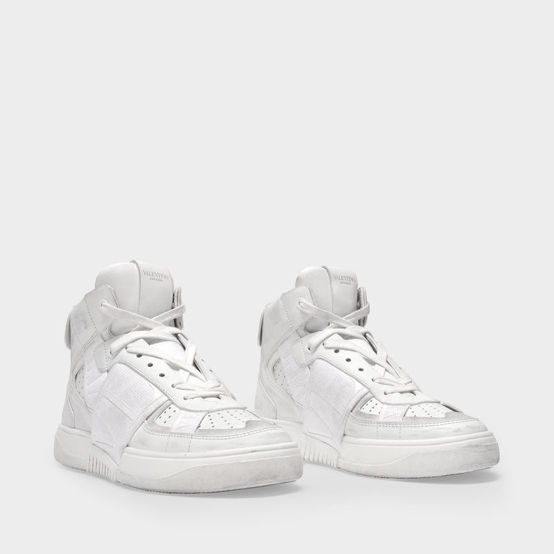 High-Top Sneakers in White Leather