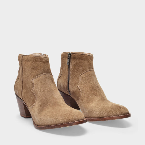 Molly Ankle Boots in Taupe Leather