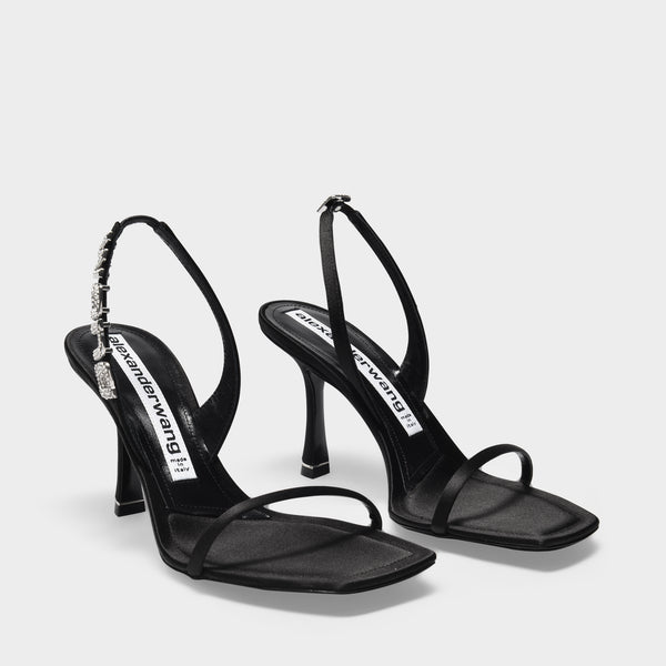 Ivy 85 Sandals in Black Shiny Satin
