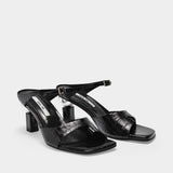 Sandals Bay in Black Leather Embossed Croc