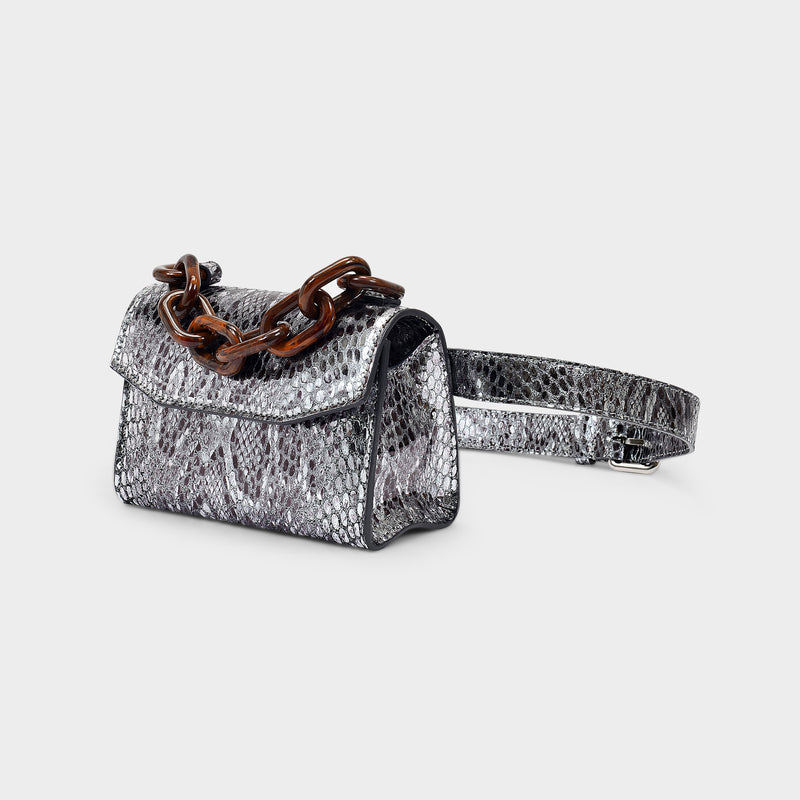 Mini Bag in Silver Snake Printed Leather