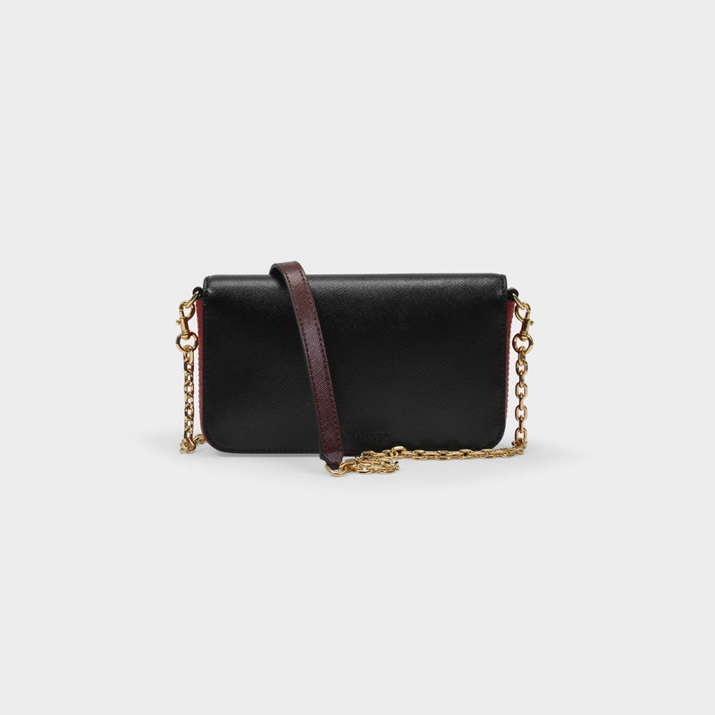 Crossbody Bag With Chain in Black and Red Leather
