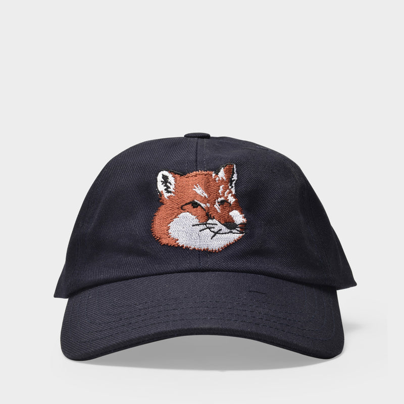 Large Fox Head Embroidery 6P Cap in Navy Cotton